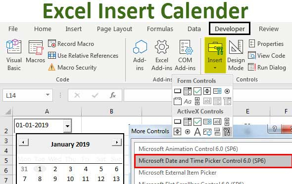 Insert Calendar In Excel   Top Examples To Create & Insert With Regard To Create A Drop Down Caledar Excel Sample