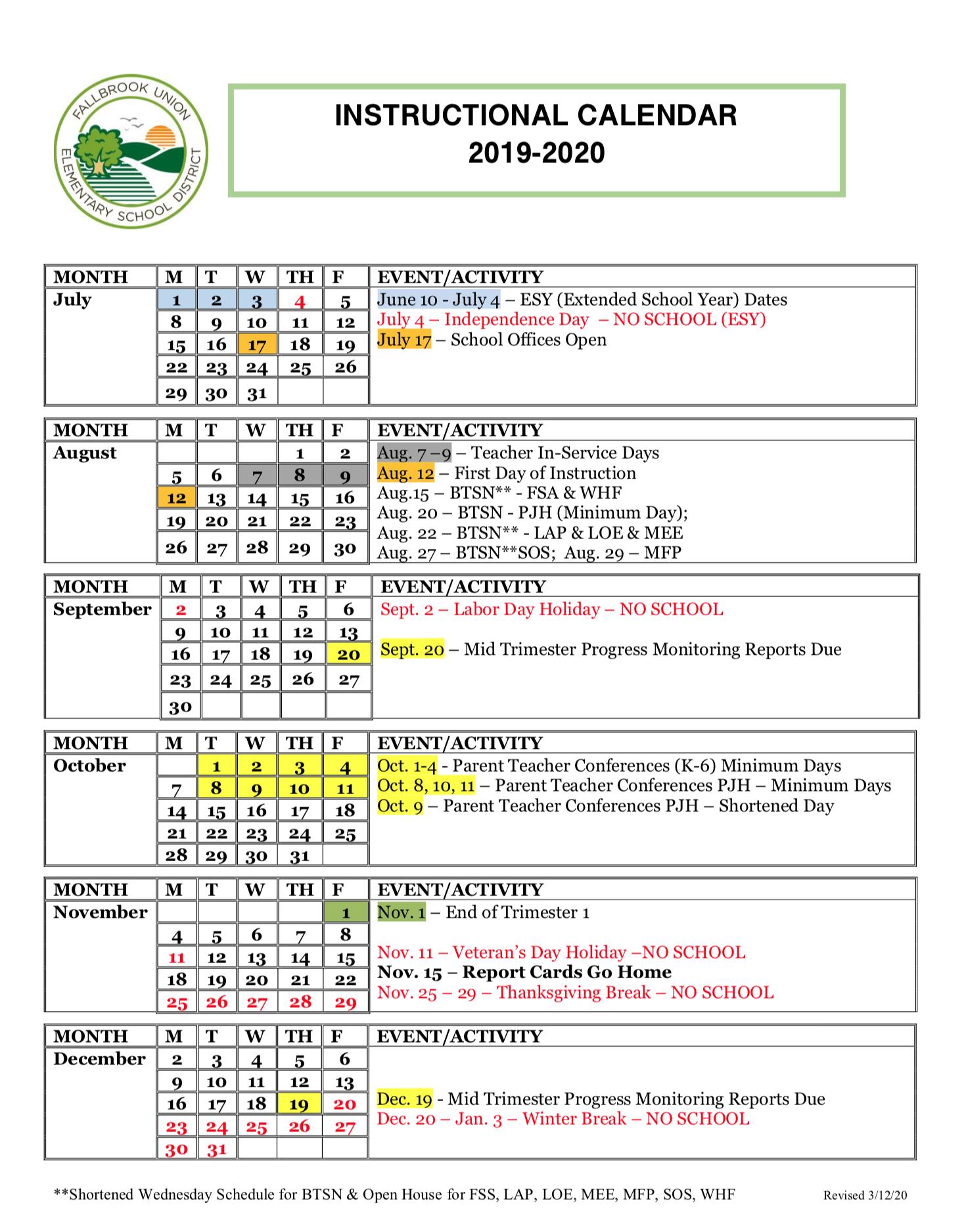Instructional Calendar | Fallbrook Union Elementary School Inside William And Mary School Calendar 2021 2020