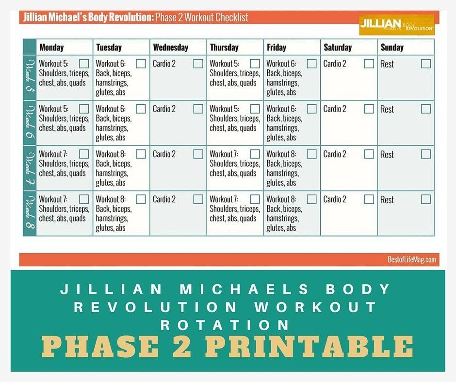 Jillian Michaels Workout Rotation Printable Checklist Inside Jilian Michaels Body Revolution Calendar