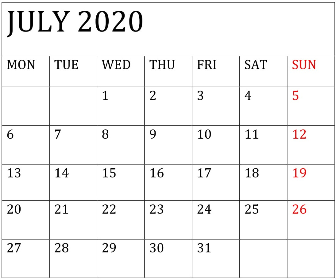 July 2020 Calendar Template For Word, Pdf, And Excel Free Throughout Add Seasons To Google Calendar