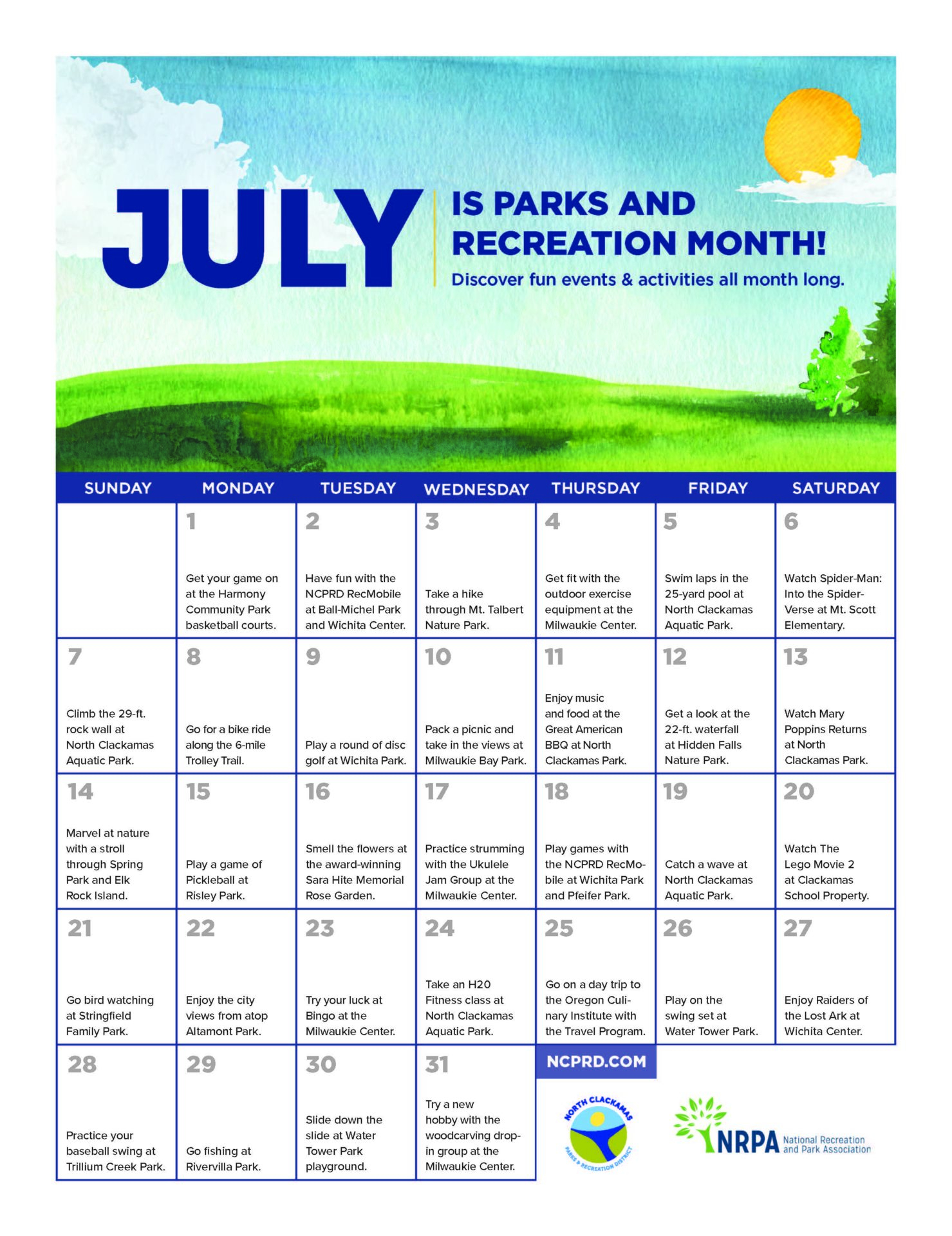 July Is Parks And Recreation Month! – North Clackamas Pertaining To North Clackamas School District Elementary Calen