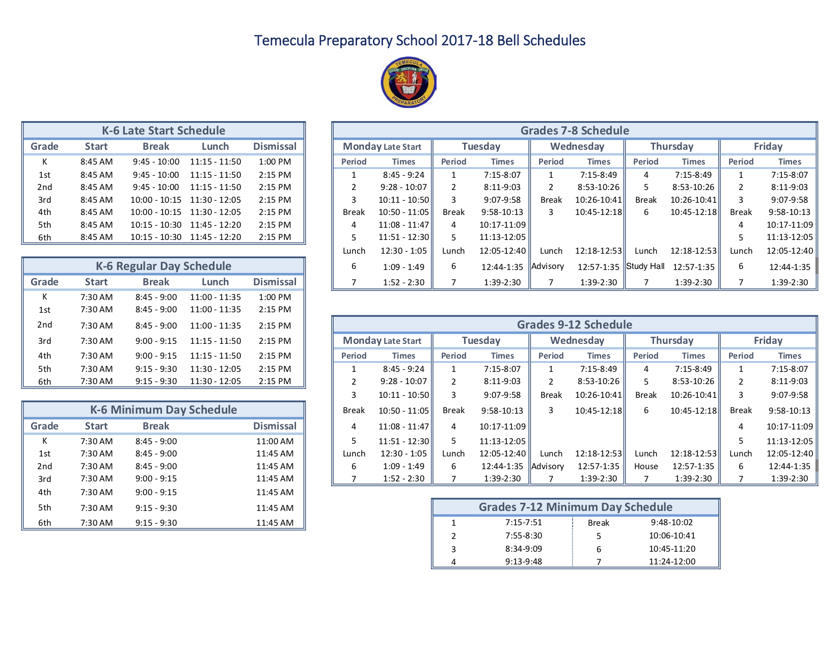 K 12 Bell Schedule – Temecula Preparatory School Inside Temecula School Calendar 2021