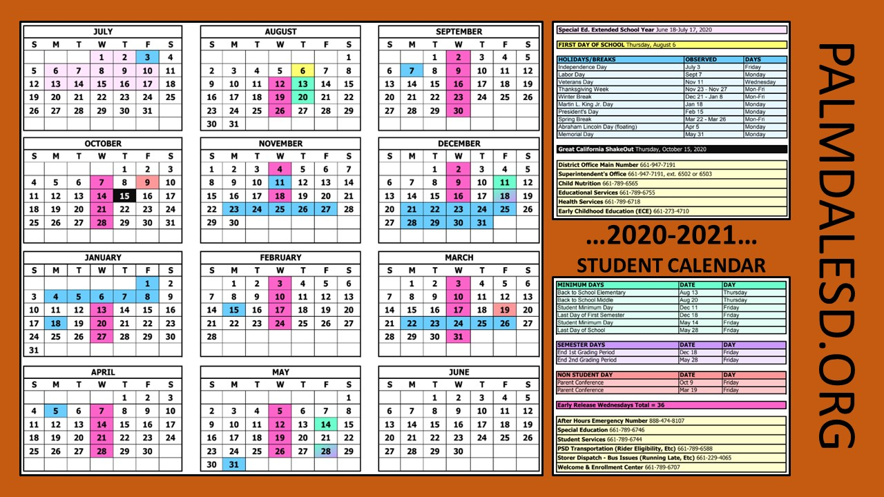 La School Calendars 2020-2021 | Momsla inside Paramount Unified School District Academic Calendar 2020