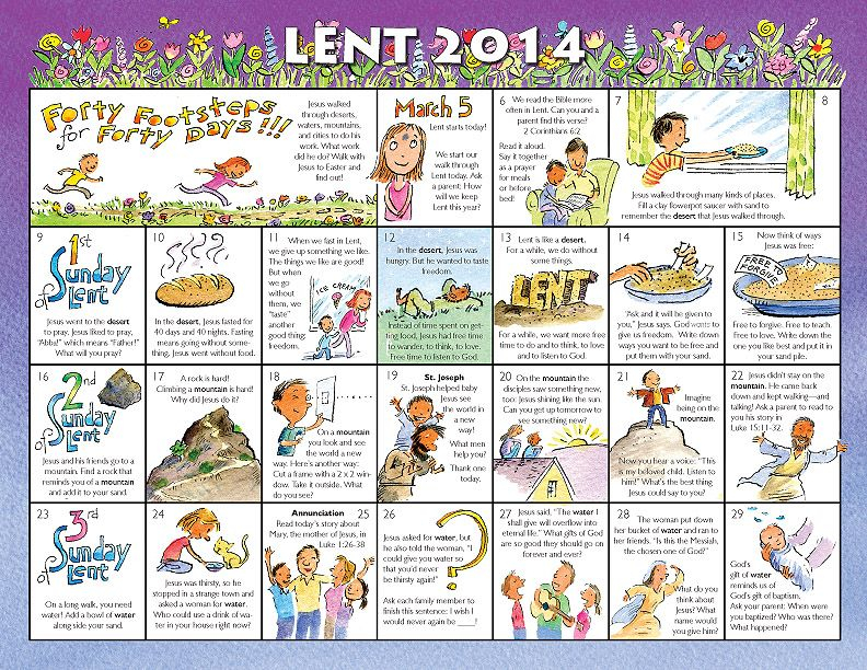 Lent Calendar For Kids 2014 | 2014 Lent Calendar For For Roman Catholic Calendar With Saints Days To Print Out