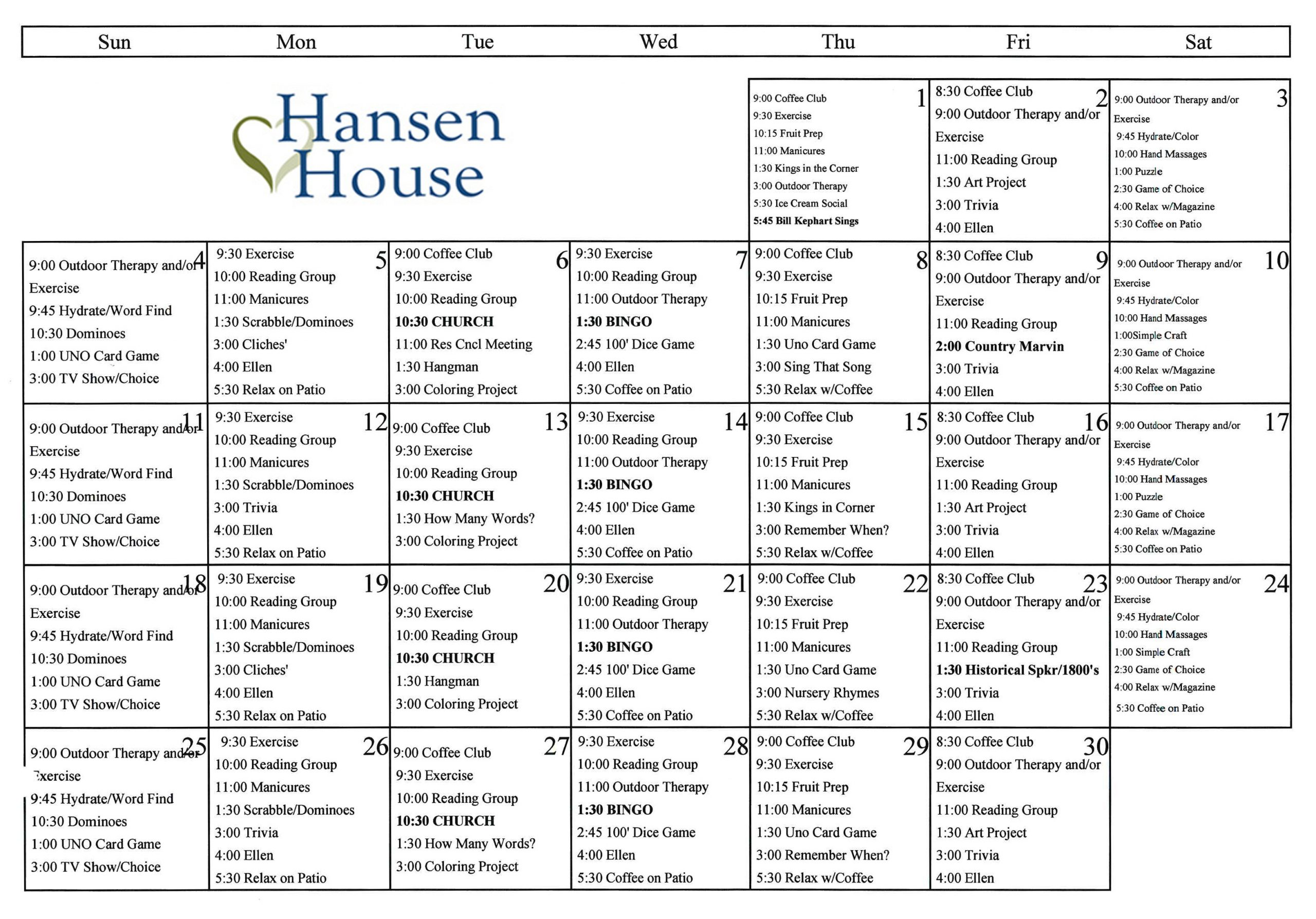 Life Enrichment | Hansen House Assisted Living | Council In Activity Calendar Assisted Living