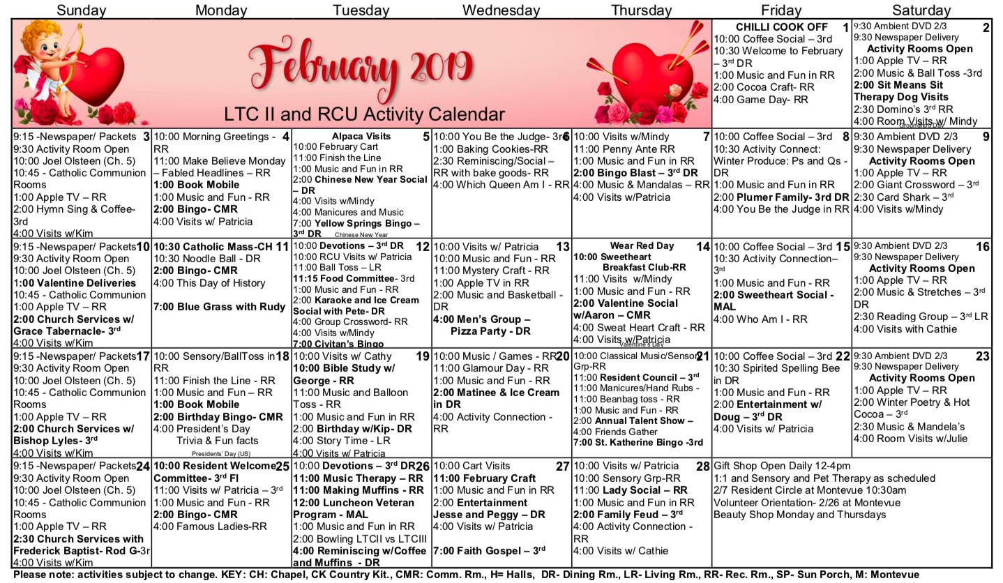 Long Term Care Calendar – Citizens Care And Rehabilitation In Uwyo Long Tern Calendar