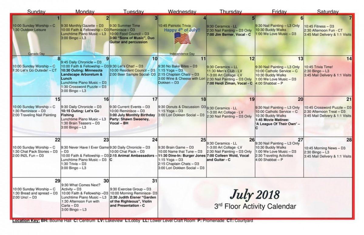 Long Term Care Calendar July 2018 Page 0 – Jones Harrison With Regard To Uwyo Long Tern Calendar