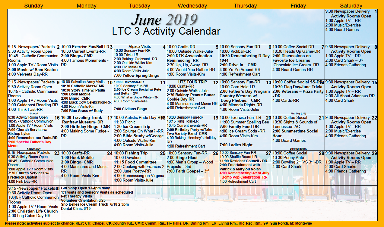 Long Term Care June 2019 Activity Calendar – Citizens Care With Individual Activity Calendars For Senior Citizens
