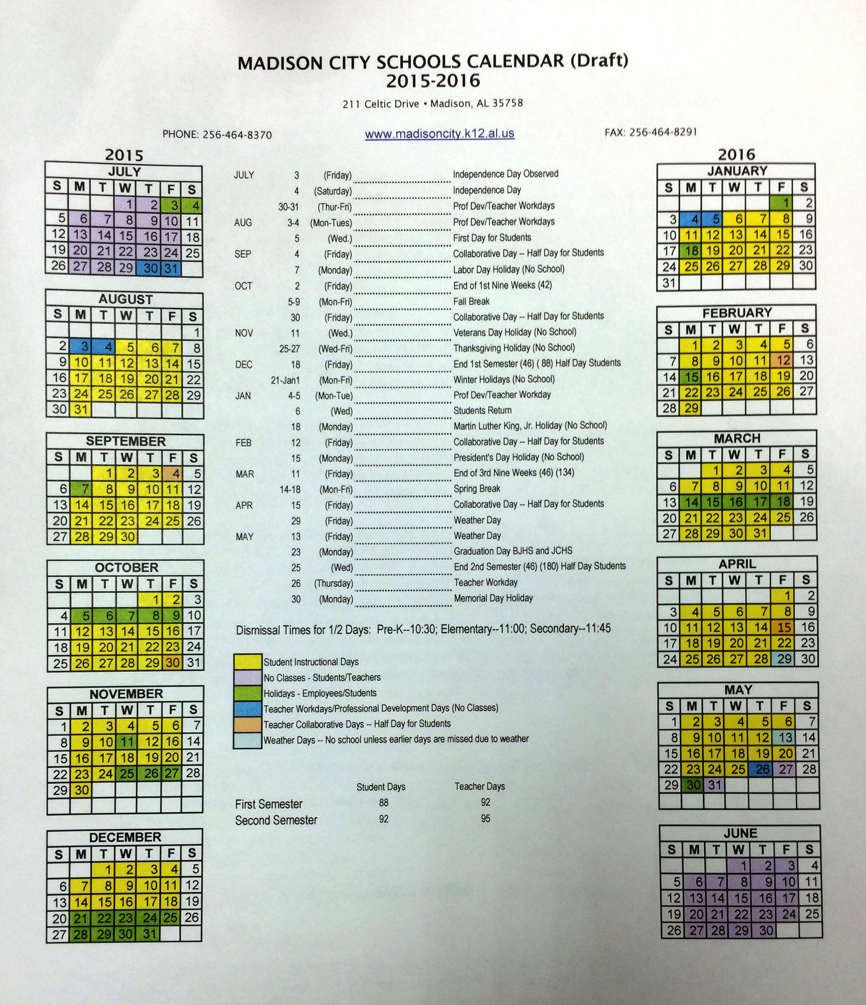 Madison County Schools School Year Calendar | Printable With Durham Public Schools Calendar 2021 2020