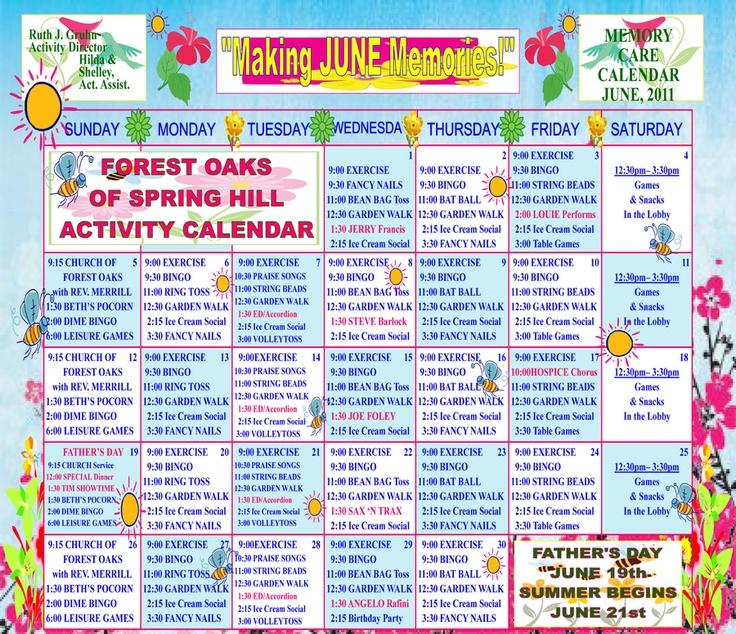 Memory Care Activity Calendar For June | Nursing Home Intended For Assisted Living Calendar Template