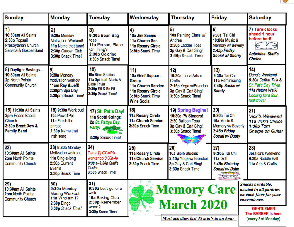 Memory Care Calendar - The Davis Community Pertaining To March Assisted Living Calendar Activities