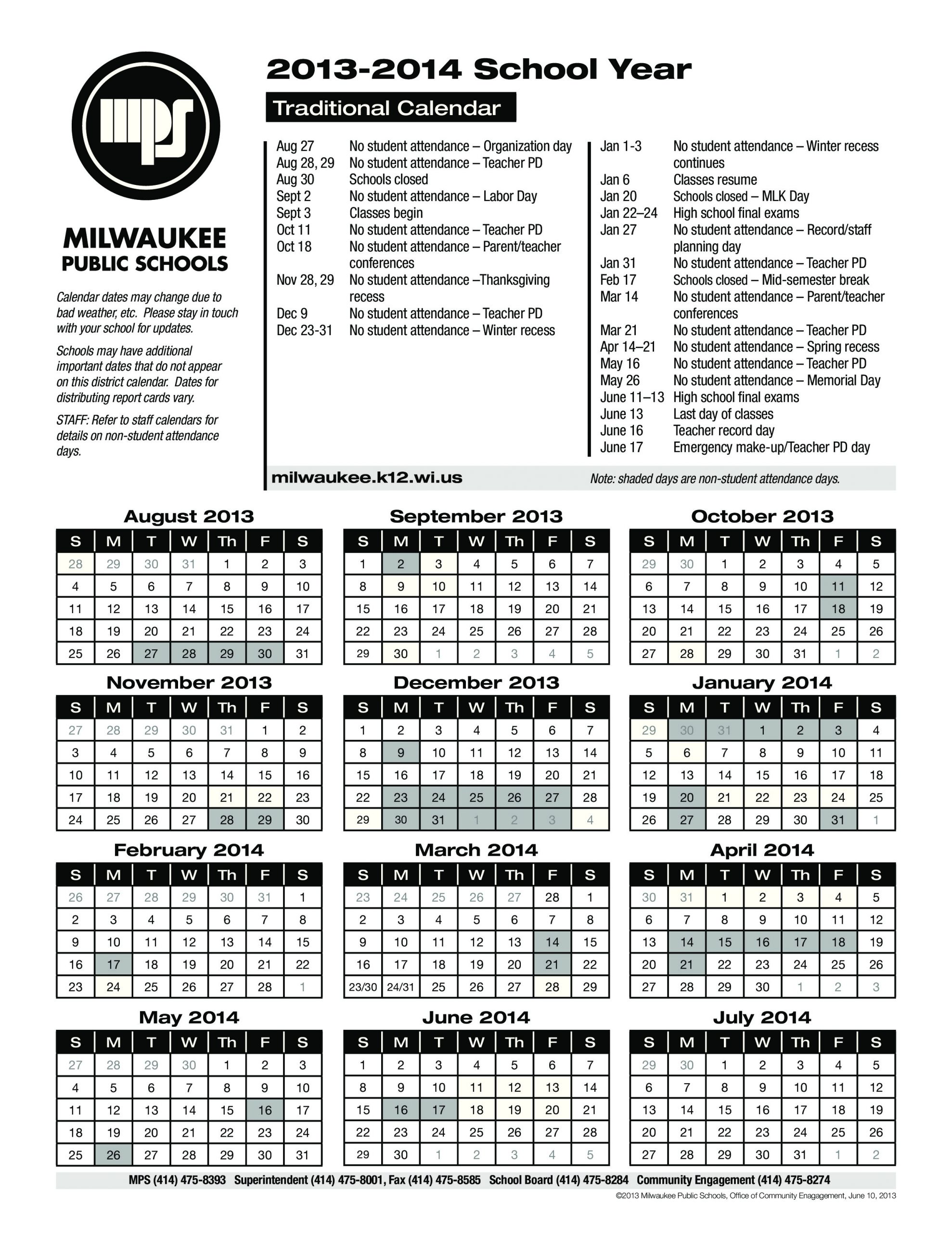 Milwaukee Public Schools Calendar | Qualads With What Is A Sample Year Round School Schedule