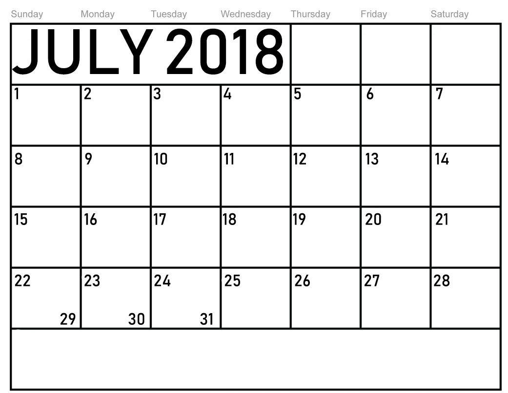 Monthly Blank July 2018 Calendar   Printable Blank In 52 Week Printable Calendar Blank