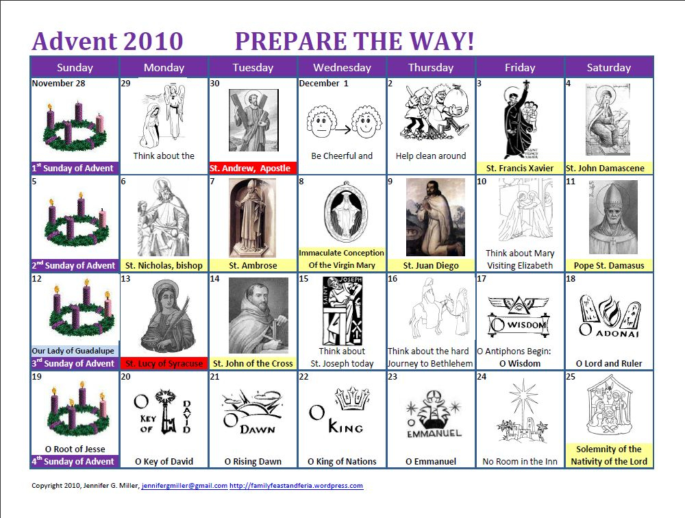 My Little Advent (Updated For 2015) – Family In Feast And Within Roman Catholic Calendar With Saints Days To Print Out