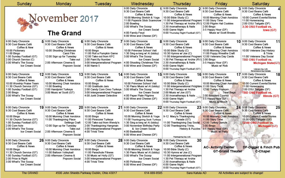 November 2017 Activities Calendars – The Grand In Activity Calendar Assisted Living