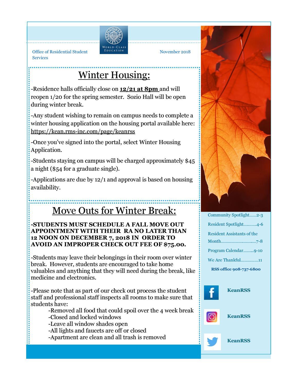 November 2018 Newsletterkean University Residence Life With Delaware State University Winter Semester Dates
