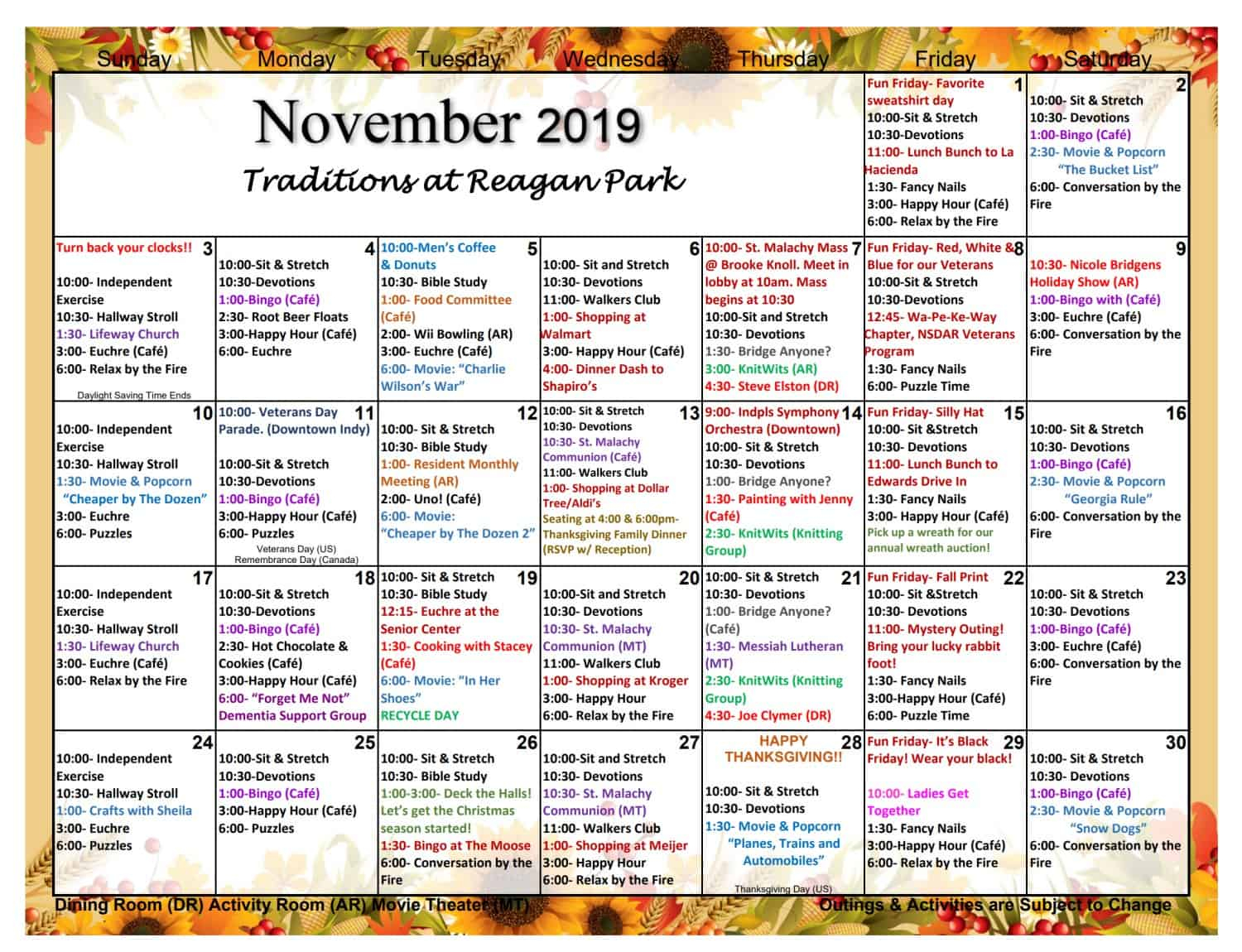 November Assisted Living Activities | Traditions At Reagan Throughout Activity Calendar Assisted Living
