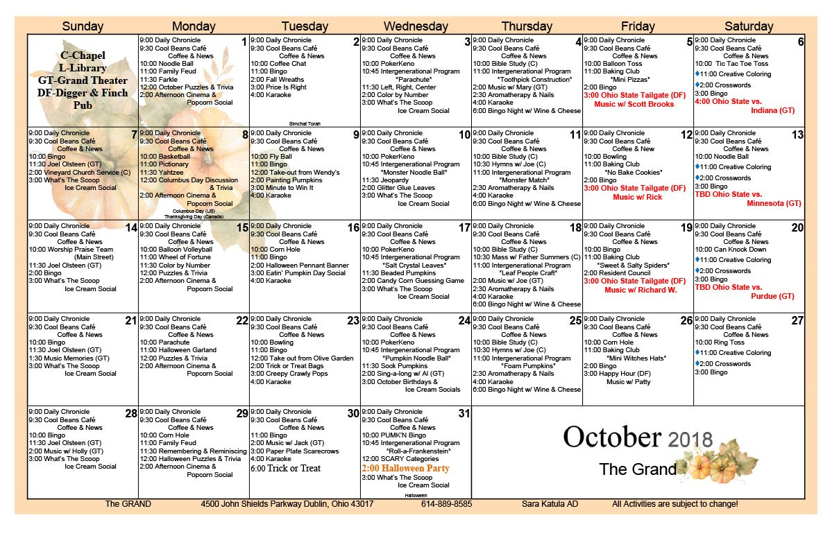 October 2018 Skilled Nursing Activity Calendar | October Regarding Assisted Living Activities Calendar Ideas