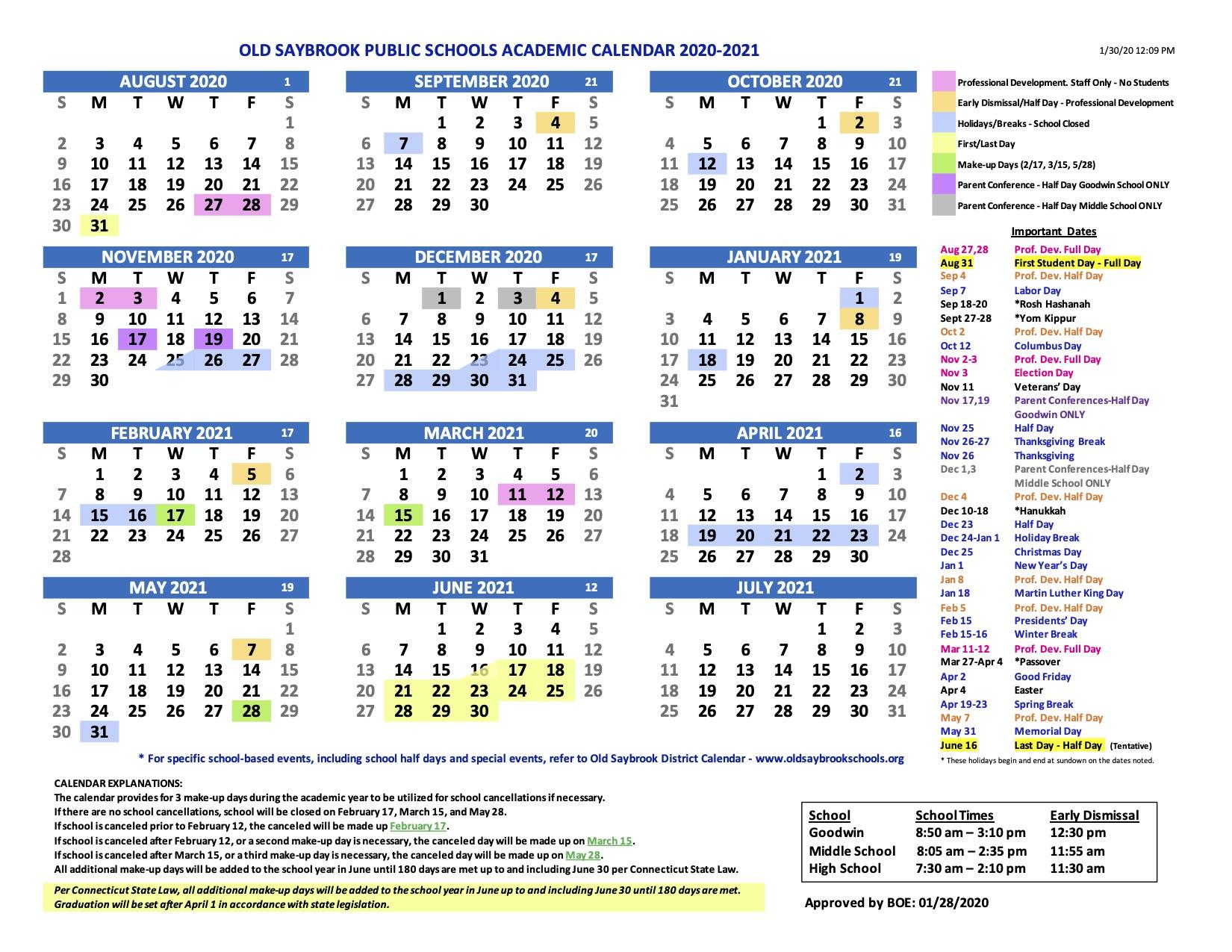 Old Saybrook Public Schools Calendar 2020 And 2021 With Regard To Las Cruces Public School Calendar 2021 20