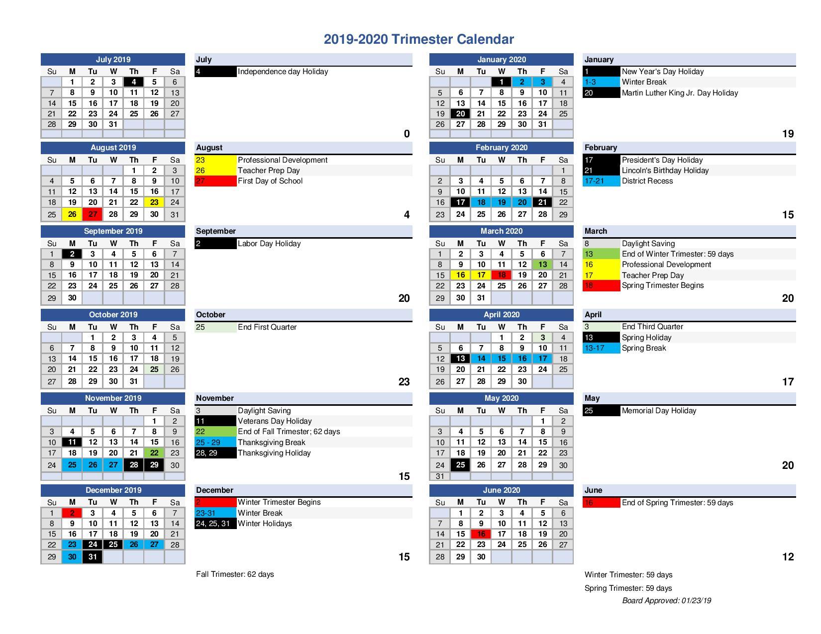 Ouhsd 2019 – 2020 Trimester Calendar – Monarchs Ptsa With Regard To Queensborough Community College Printable Calendar 2020
