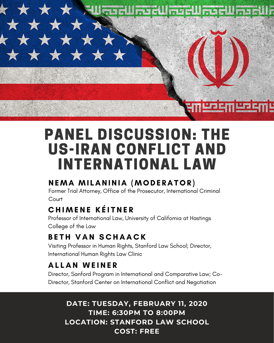 Panel Discussion: The Us-Iran Conflict And International for Stanford Law School Calendar