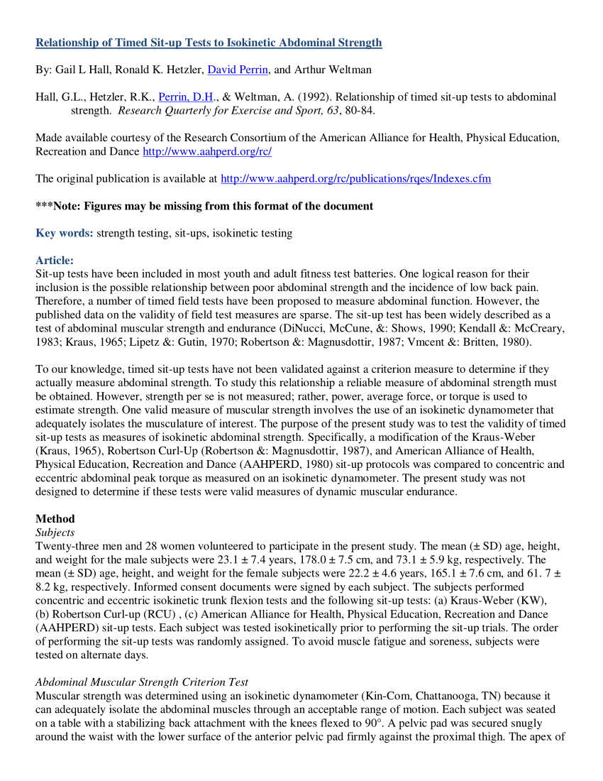 (Pdf) Relationship Of Timed Sit Up Tests To Isokinetic Throughout Sit Up Challenge Pdf