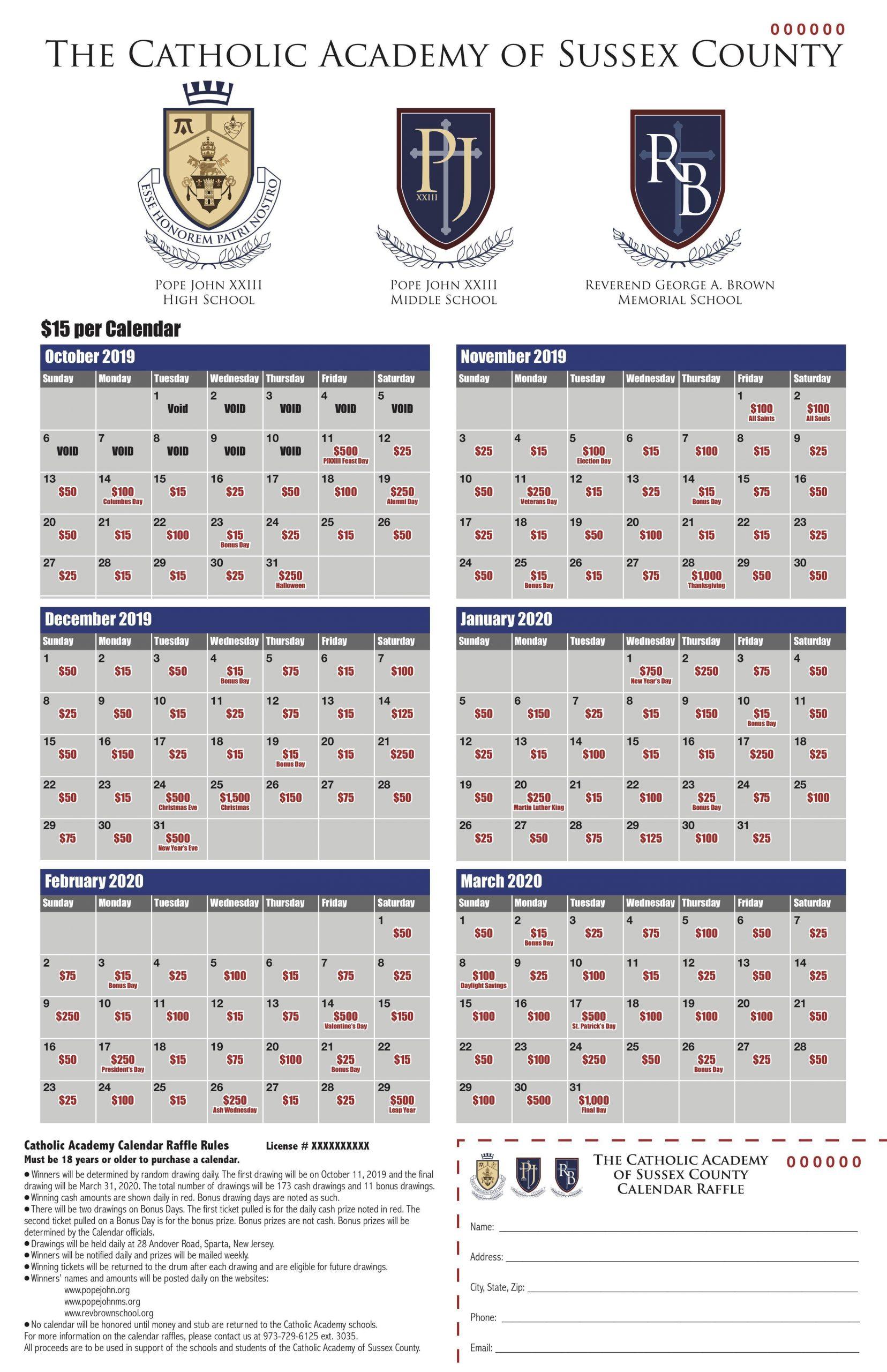 Pope John Xxiii Regional High School For Rutherford County Schools Printable Calendar