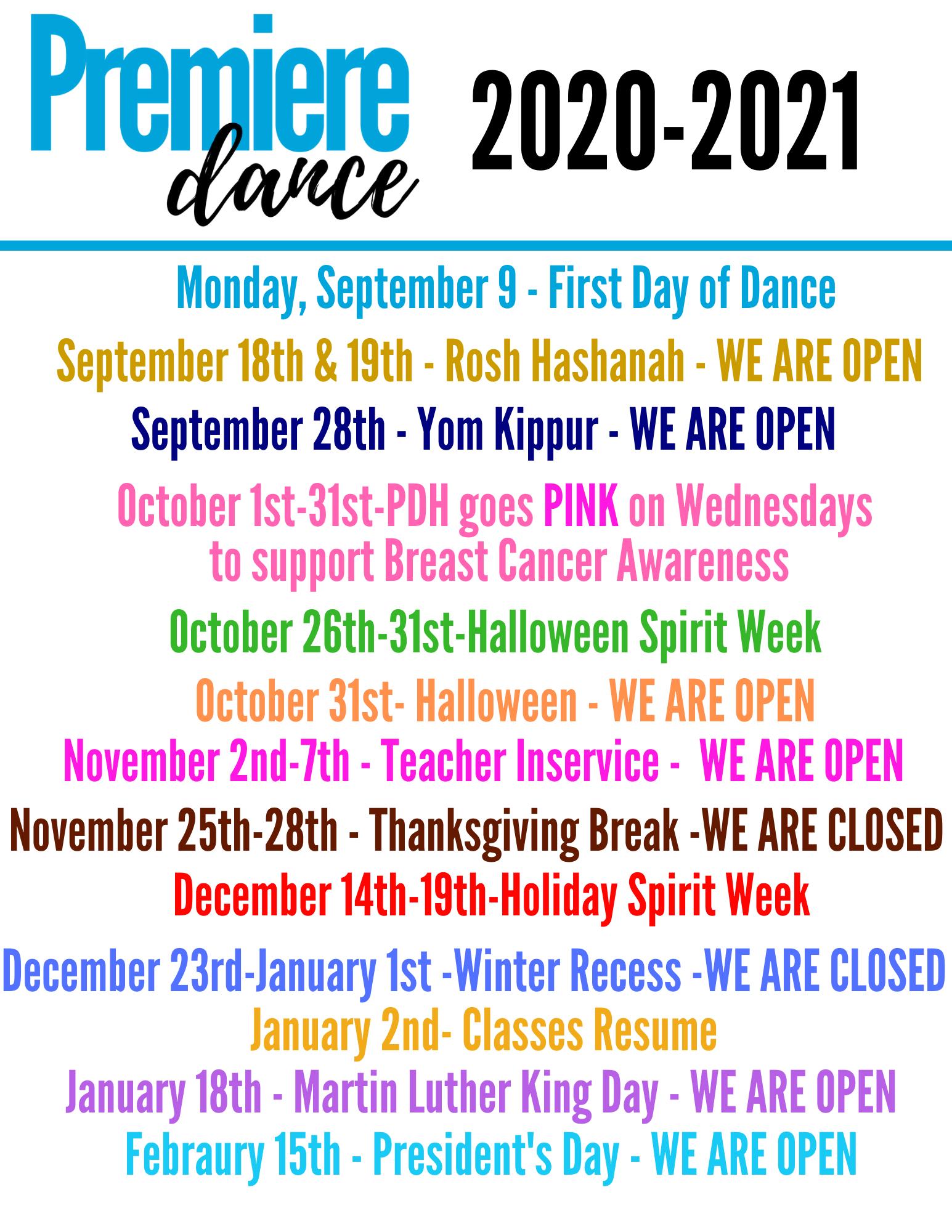Premiere Dance Center Summer 2021 Calendar | Printable March For Printable Tv Premiere Calendar