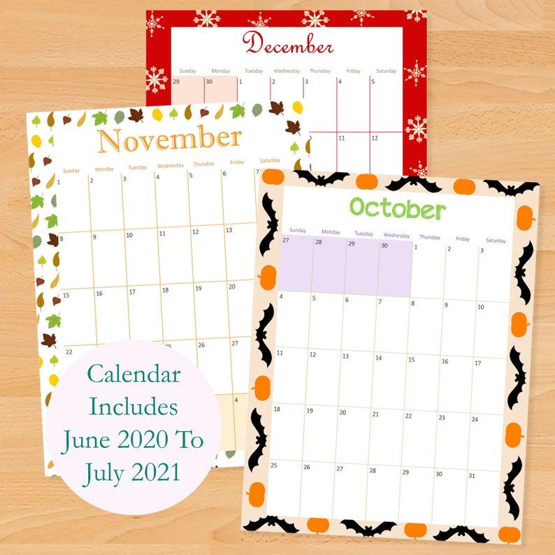 Printable Monthly Calendar 2020 2021 School Calendar | Etsy Intended For Girne Amerikan University Academic Claendar 2021