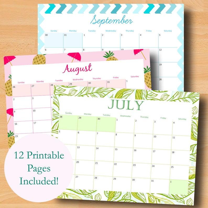 Printable Monthly Calendar 2020 2021 School Calendar | Etsy Throughout Girne Amerikan University Academic Claendar 2021