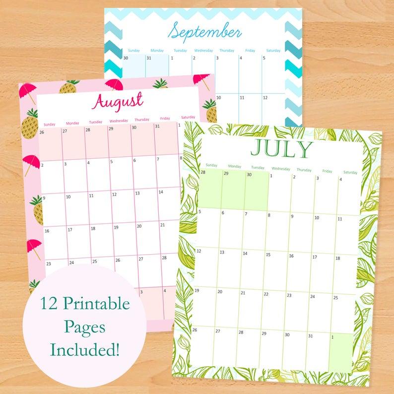 Printable Monthly Calendar 2020 2021 School Calendar | Etsy With Regard To Girne Amerikan University Academic Claendar 2021