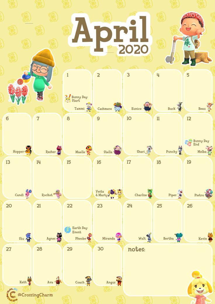 Printable Monthly Calendar For April | Animal Crossing With Animal Crossing New Leaf Calendar