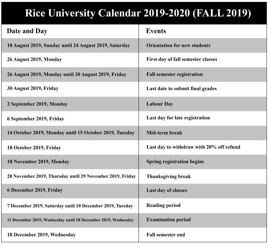 Rice University Academic Calendar 2019 2020😄 For Delaware State U Fall Semester Start Date