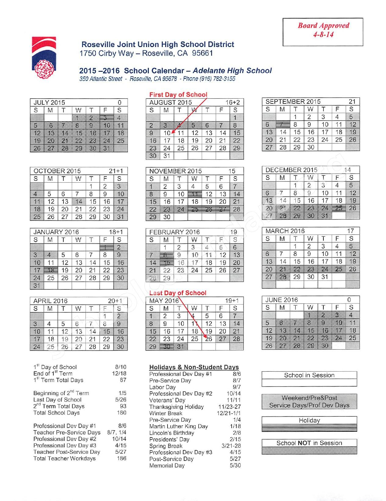 Roseville Joint Union High School District Calendars In Aiken High School Sc Calendar For 2015