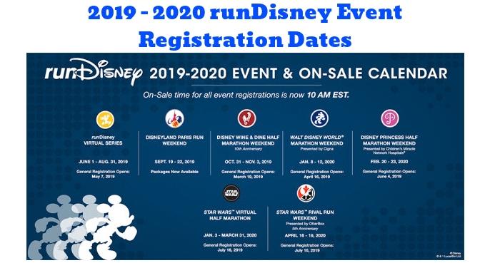 Rundisney 2019 2020 Event Calendar And Registration Dates In Disneyland Paris 2020 Calendar