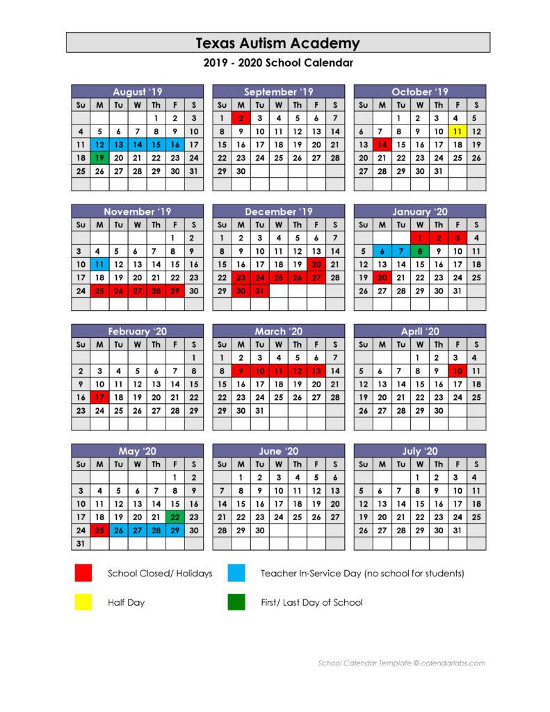 School 2019 2020 Academic Calendar – Texas Autism Academy Intended For Texas State Univeristy Calendar 2021 2021