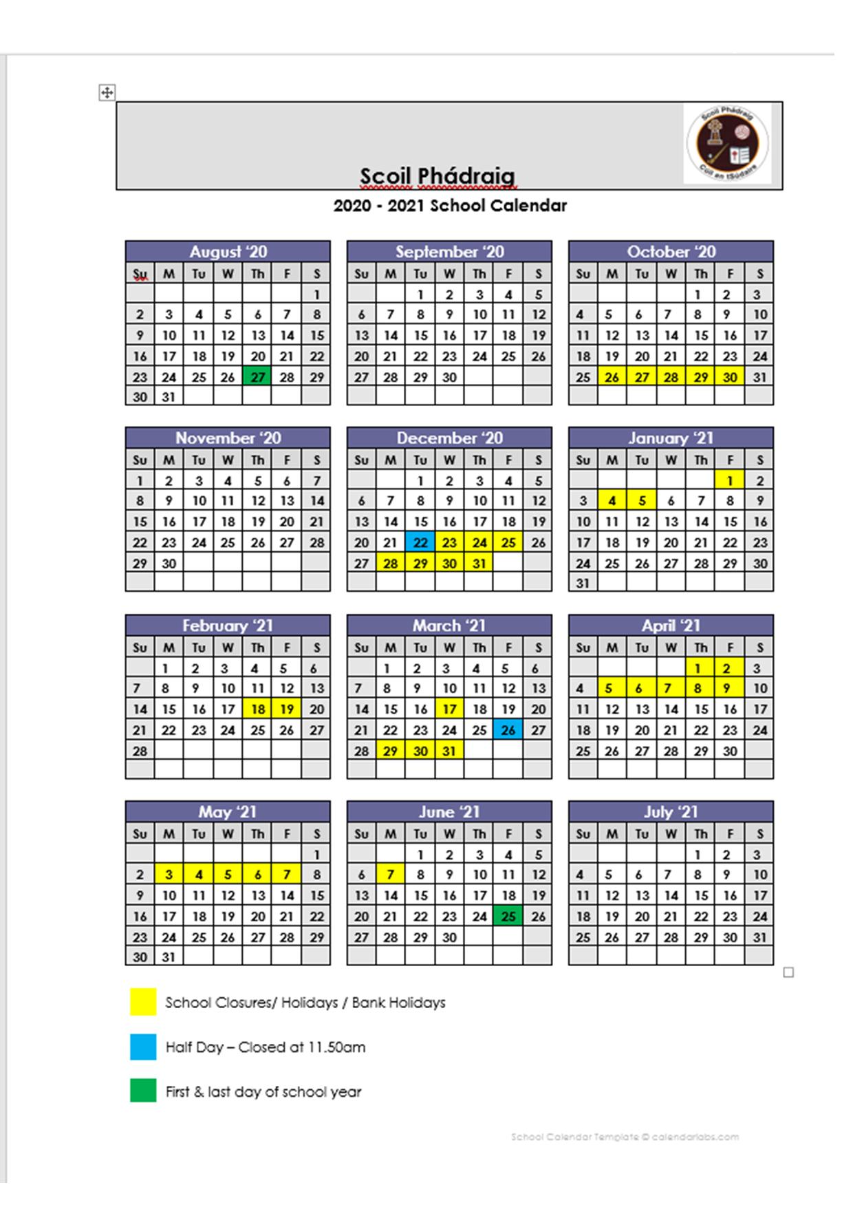 School Calendar 2020/2021 – St Patricks Bns for Smithtown School Calendar 2021 20