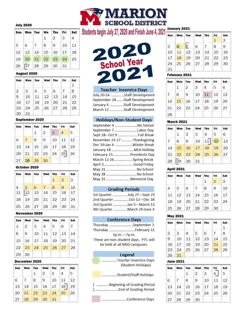 School Calendar 2021 2020 Marion County Fl | Printable Within University Of Phoenix Academic Calendar