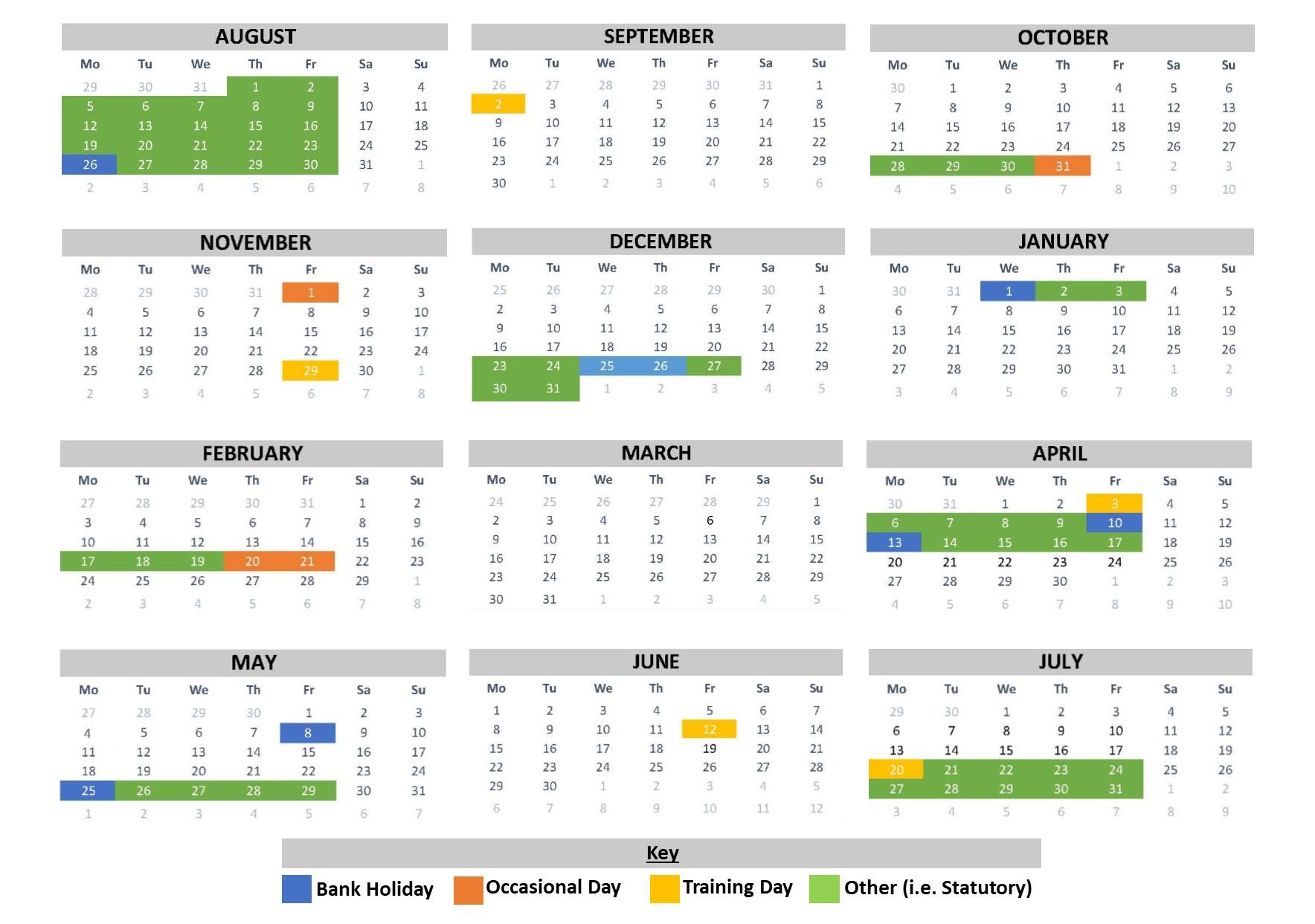 School Calendar | Beckfoot School Intended For University Of Northern Colorado Academic Calendar 2020 Fall
