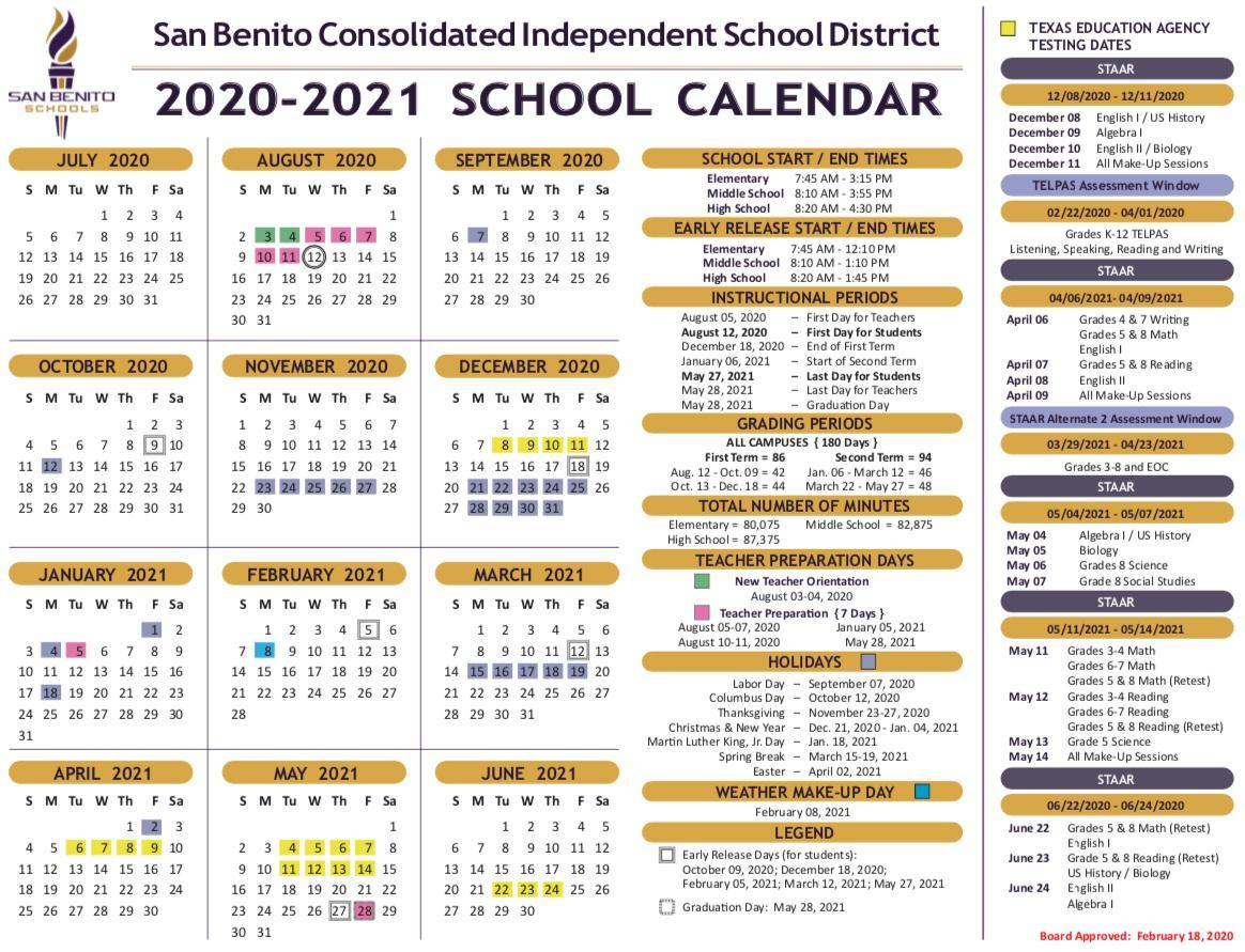 School Calendar – District – San Benito Consolidated Intended For St. Charles Community College Summer 2021 Calendar