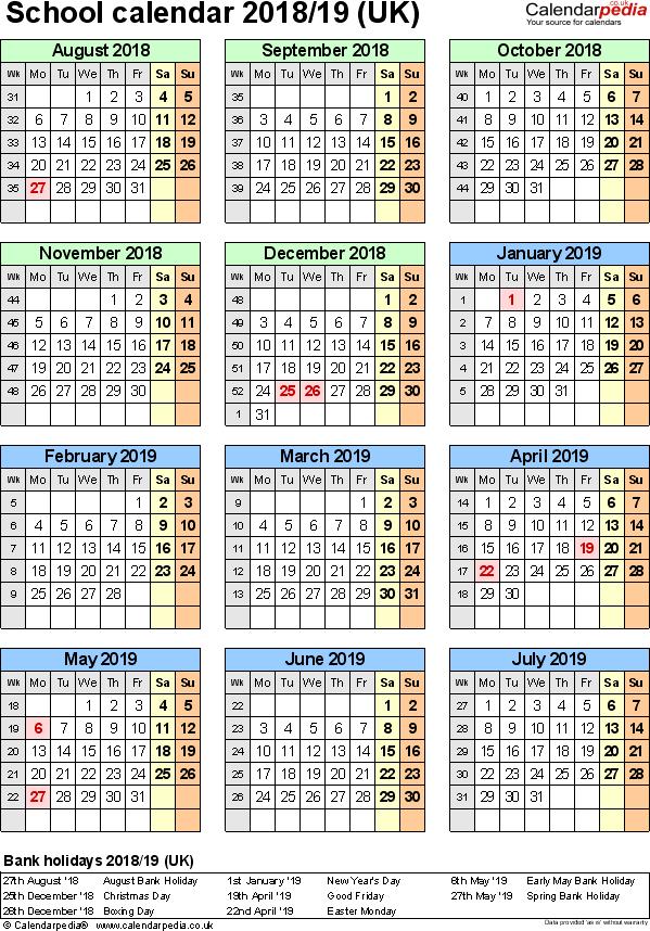 School Calendars 2018/2019 As Free Printable Excel Templates In Academic Year University Of Rhode Calendar