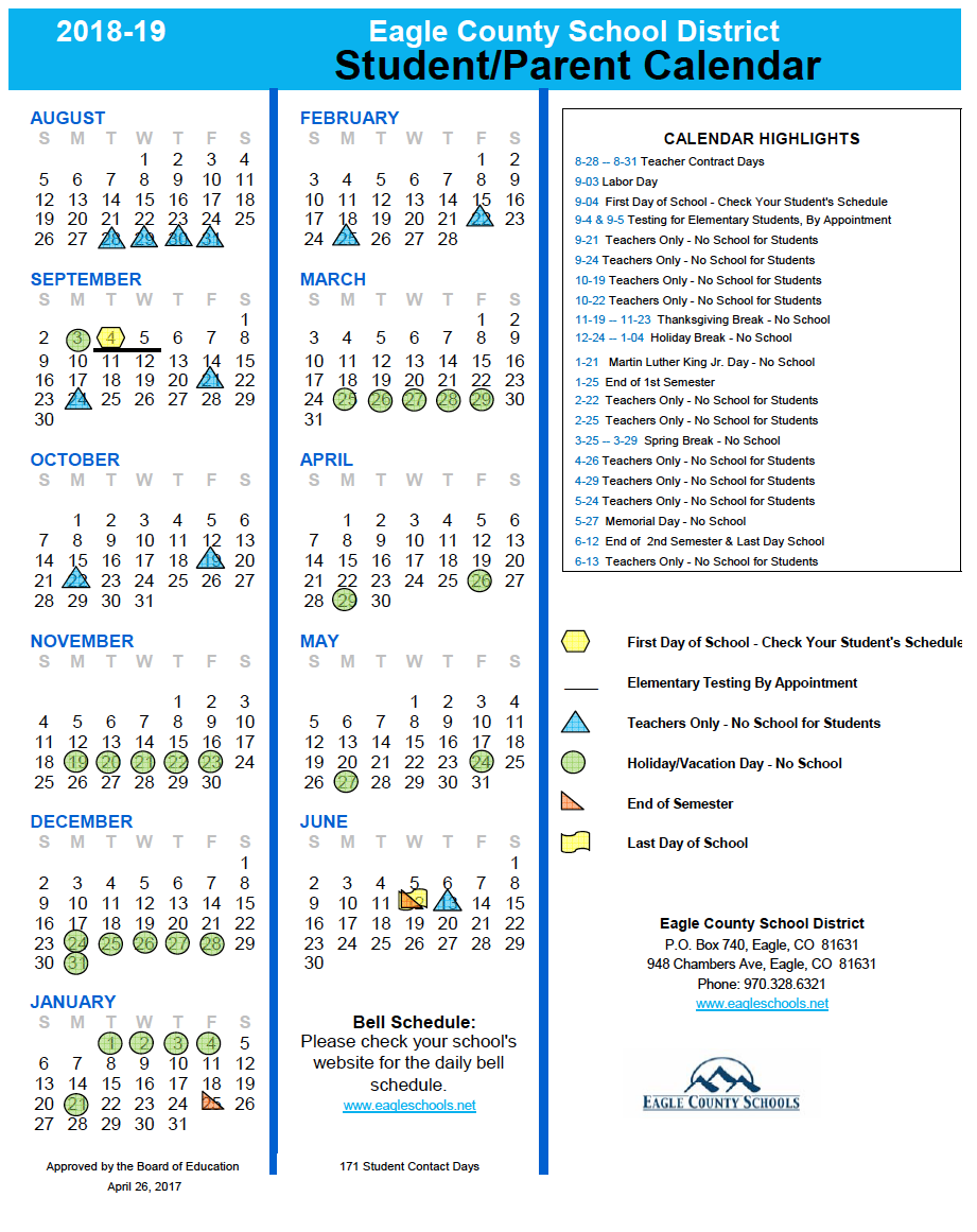 School Calendars | Eagle County Schools Pertaining To College Of The Canyons Holiday Schedule