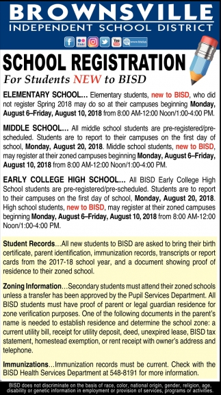 School Registration, Brownsville Independent School In Brownsville Tx School Calendar