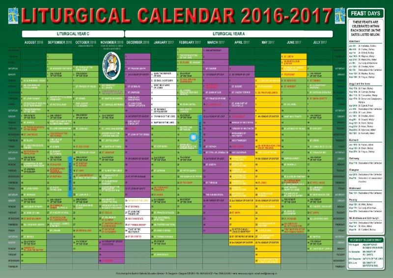 Scottish Catholic Education Service | Sces | Liturgical Intended For Roman Catholic Calendar With Saints Days To Print Out