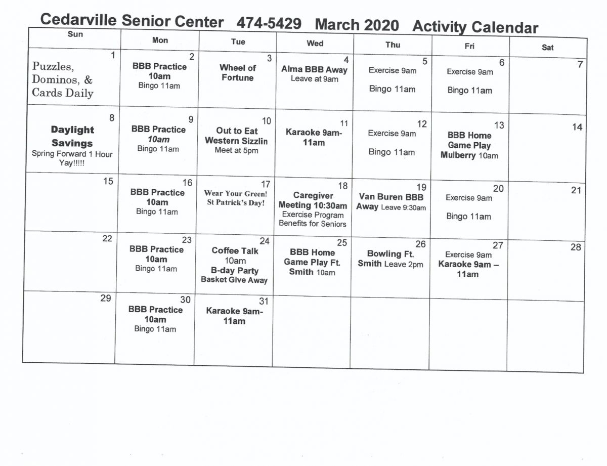 Senior Citizen Center | City Of Cedarville Intended For Individual Activity Calendars For Senior Citizens