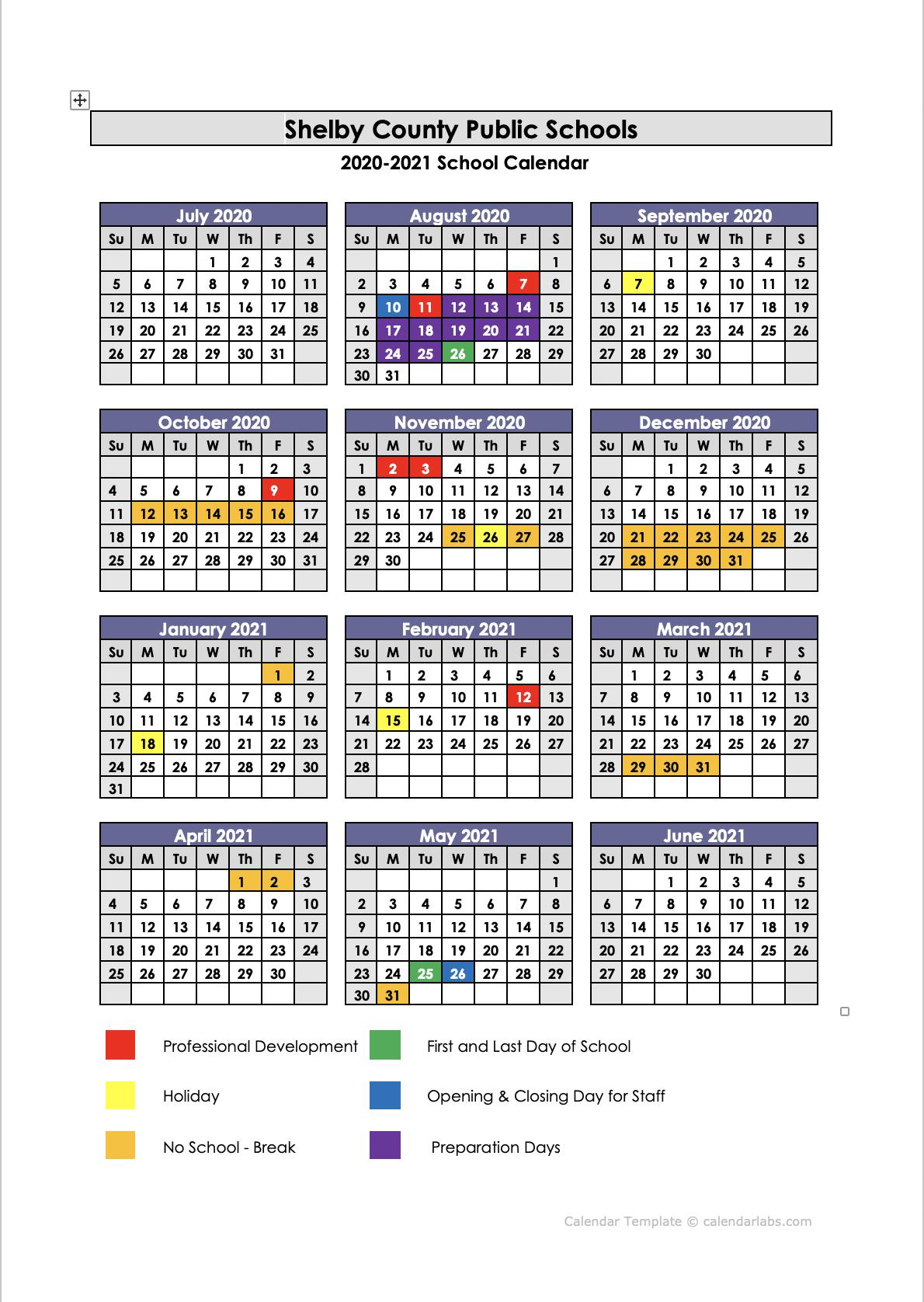 Shelby County Public Schools / Calendar For Tehama County Office Of Education 2021  2021 Calendar