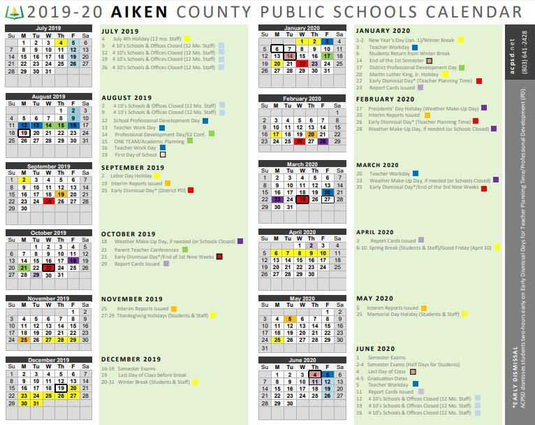 Stone, Deborah (3Rd Grade) / Calendar Pertaining To Aiken County School Calendar 2021 2020