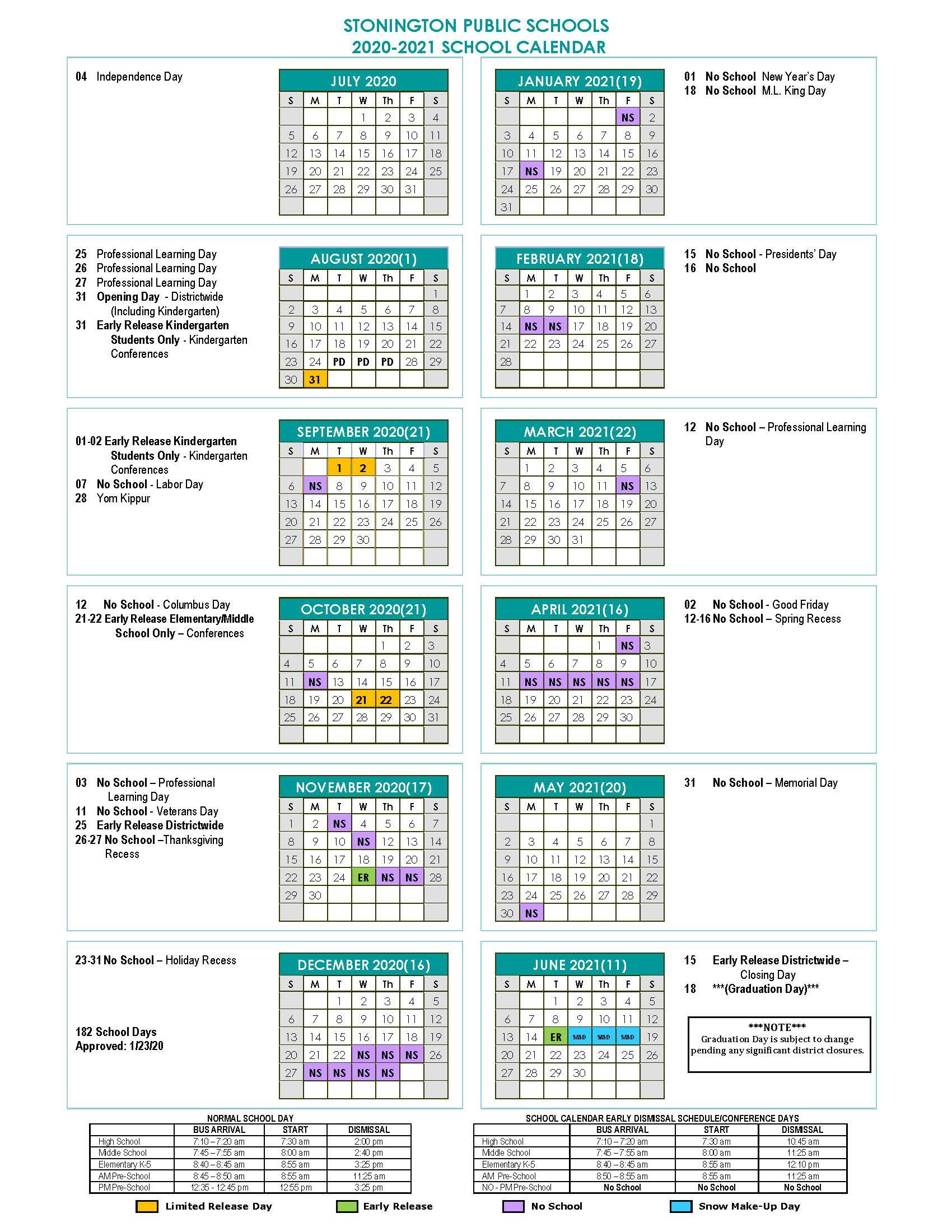Stonington Public Schools Calendar 2020 And 2021 With Regard To Smithtown School Calendar 2021 20