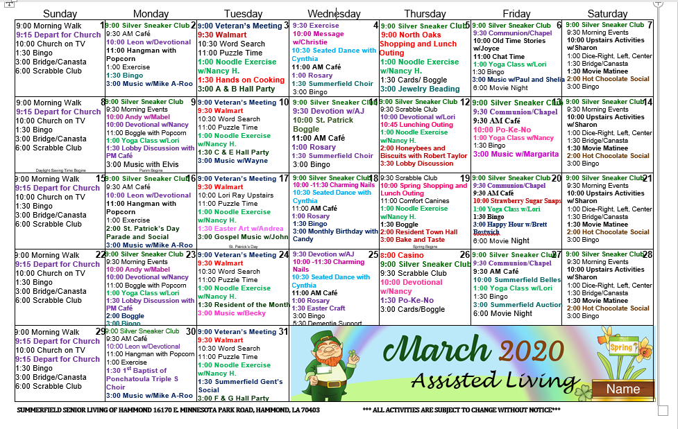 Summerfield Blog | Summerfield Of Hammond Assisted Living Intended For March Assisted Living Calendar Activities