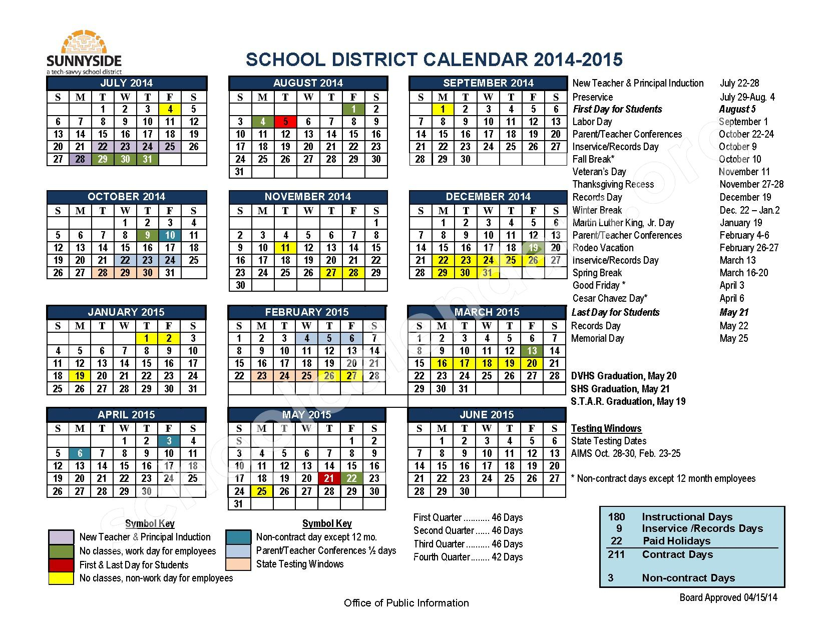 Sunnyside Unified School District Calendars – Tucson, Az Intended For Aiken High School Sc Calendar For 2015